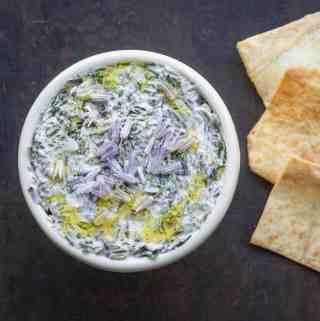 Borani esfenaj recipe with Lamb's Quarters, yogurt and spices