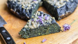 Stinging nettle frittata with parmesan and chive flowers