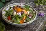 Wild Greek salad recipe with purslane, stonecrop, bergamot flowers and grape tendrils