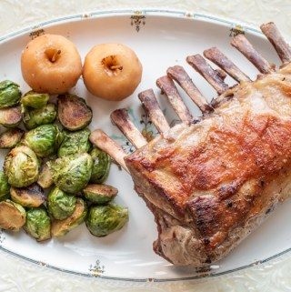 Rack of suckling pig with chestnut crabapples and roasted brussels sprouts