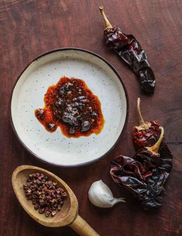 Homemade dried wild mushroom chili crisp