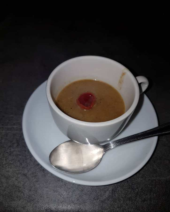 Oyster mushroom, scarlet elf cup and hairy bittercress soup