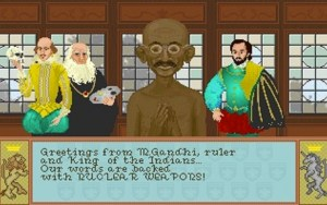 For those that missed the first Civilization game, Gandhi was quite hostile and fond of nukes.