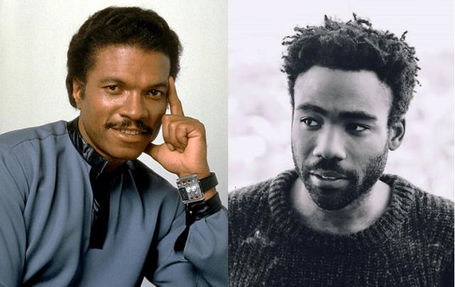 Lando Calrissian, c. 1980 and 2016.