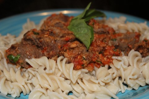 Italian Beef with Basil Red Pepper Sauce