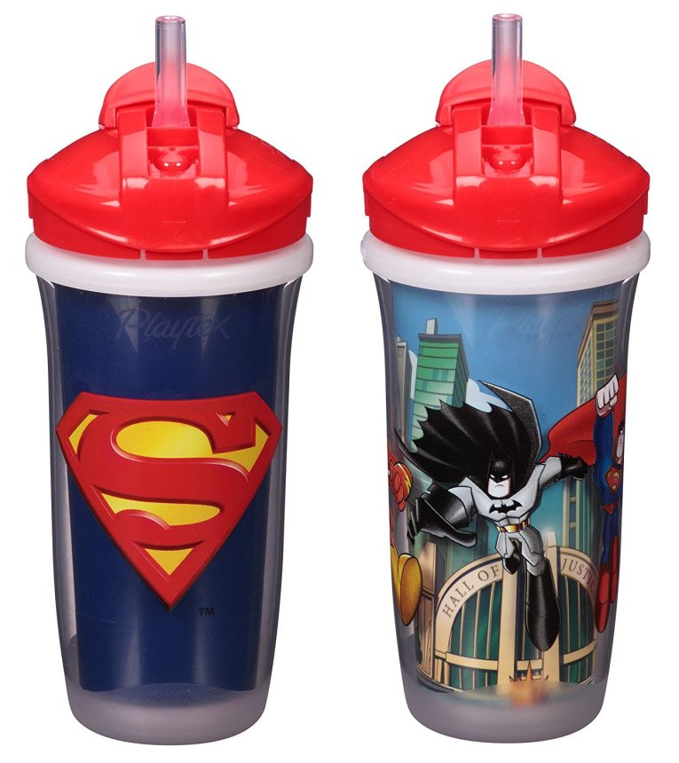 Playtex Sipsters Stage 3 Super Friends Spill-Proof, Leak-Proof, Break-Proof Insulated Straw Sippy Cups for Boys - 9 Ounce - 2...