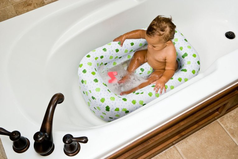 Mommy's Helper Inflatable Bath Tub Froggie Collection, White/Green, 6-24 Months