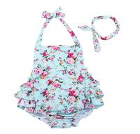 China Rose 50's Floral Ruffles Rompers Backless Dress Bathing Suit...
