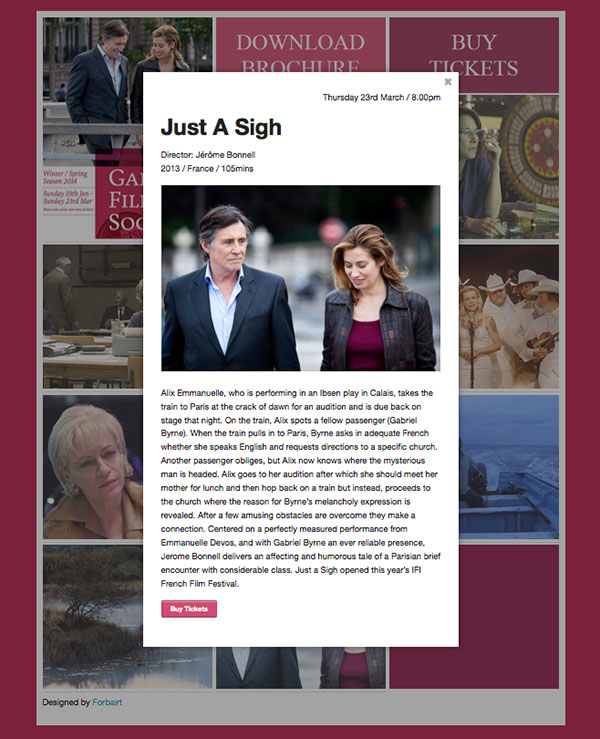 Modal Window Content for the Galway Film Society