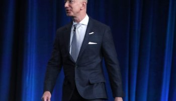 Amazon CEO And Founder Of Blue Origin Jeff Bezos Speaks At Satellite Industry Conference