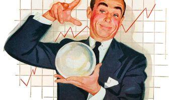 Hombre de negocios con una bola de cristal. Ilustración: GraphicaArtis/Getty Images