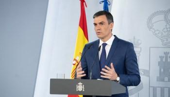 El presidente del Gobierno, Pedro Sánchez, durante la presentación de las medidas. (Pool Moncloa/Borja Puig de la Bellacasa)