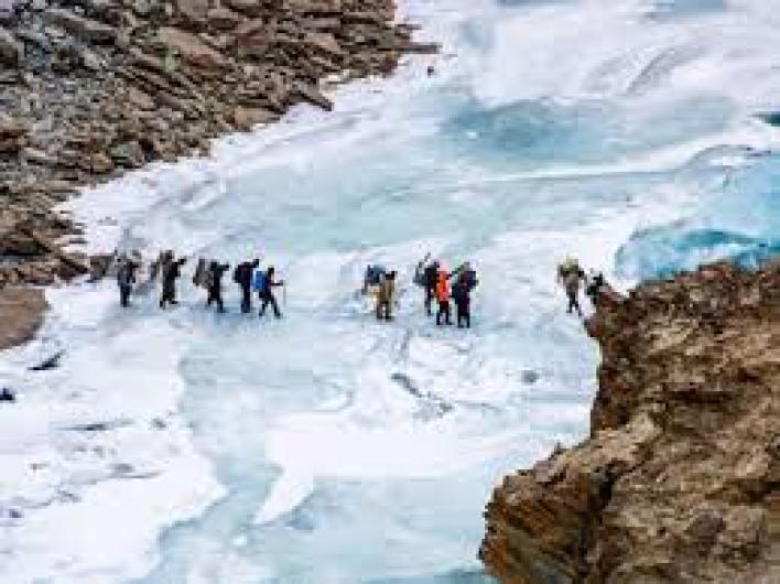 The Chadar Trek Frozen River or the Zanskar Gorge is a winter trail over the frozen Zanskar River