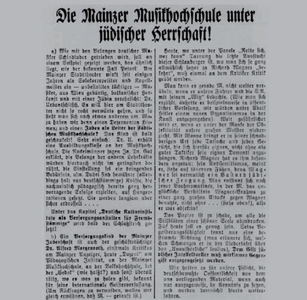Anti-Semitic attack on Hans Gál in Mainz