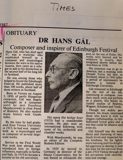 Times  Obituary of Hans Gál