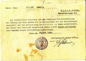 Document ordering the Zeisls to leave Baden within 48 hours - as Jews, they were 'disturbing the peace'