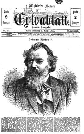 Extra-edition to announce the death of Johannes Brahms