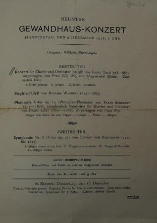 Programme of piano concerto 1926: Elly Ney as soloist with Furtwängler