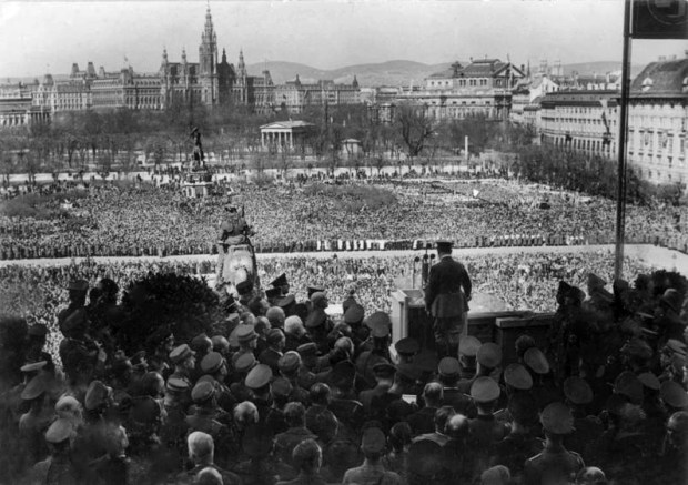 Hitler's address to cheering Viennese following the 'annexation' of Austria into Nazi Germany on March 13th 1938