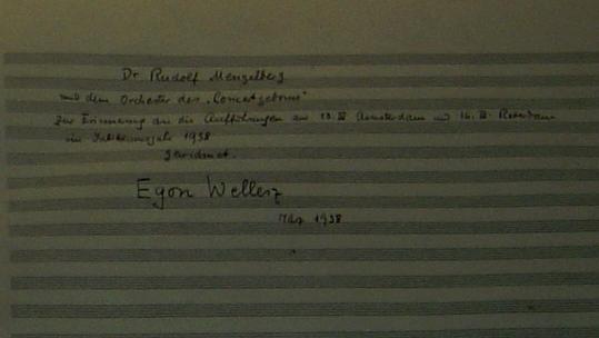 Wellesz's dedication in 'Prospero'