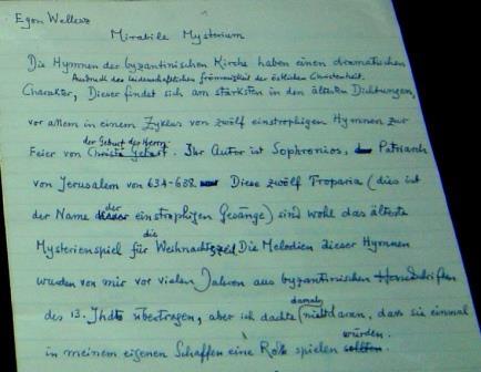 Wellesz outlines his 'Mirabilis Mysterium' in German