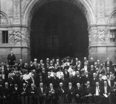 Musicological Society conference in London 1910 - Adler is 6th on right, front row - Wellesz in the middle towards the back