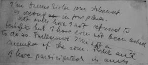"Eisler's notes to self during HUAC hearing: ""I'm Hanns Eisler your statement is wrong in four places. Not only have I not refused to testifie [sic!]but I have even not been asked to do so. . . ."""