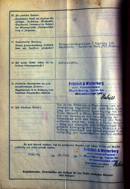 Aryanisation papers of Winterberg factory