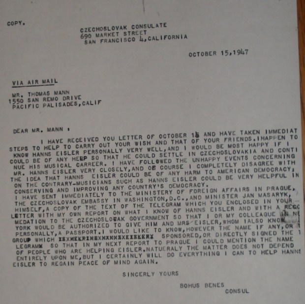 Letter from Benes to Thomas Mann