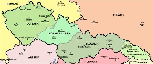 Map of Czechoslovakia 1928