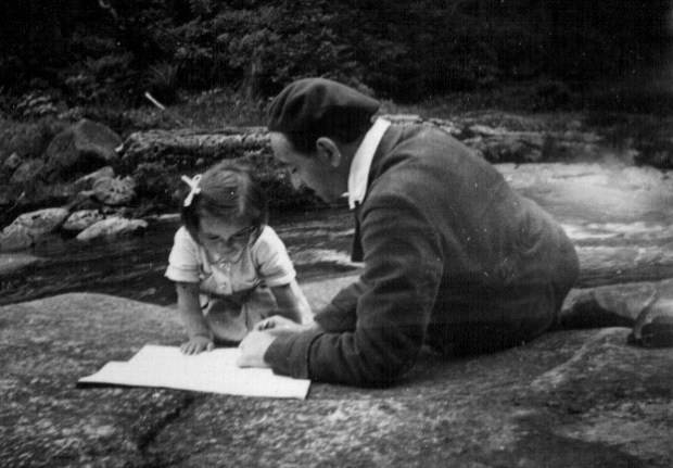 Hans Winterberg with his daughter Ruth in, or near Prague