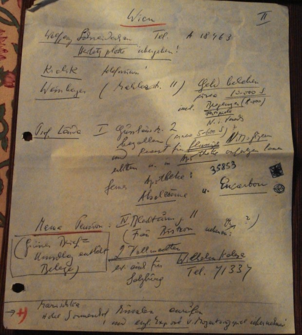 a page from Korngold's agenda for returning to Europe