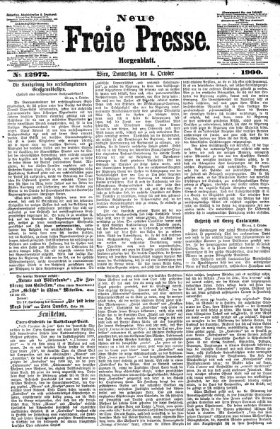 Front page of Neue Freie Presse with Julius Korngold article 'Operatic impressions' from October 4, 1900 - the article continues for another 2 pages