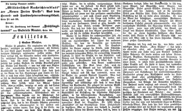 Julius Korngold's article announcing the death of Mahler from May 19, 1911