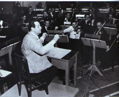 Korngold conducting in Warner's Sound Studio