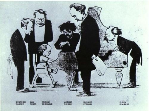 Caricature of the Wunderkind Korngold Neues Wiener Tagblatt