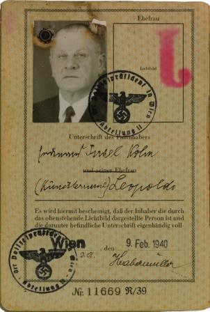 Hermann Leopoldi's passport with it's J for Jude - Kopie