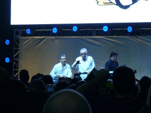 Stan Lee and Todd McFarlane on stage at Comikaze