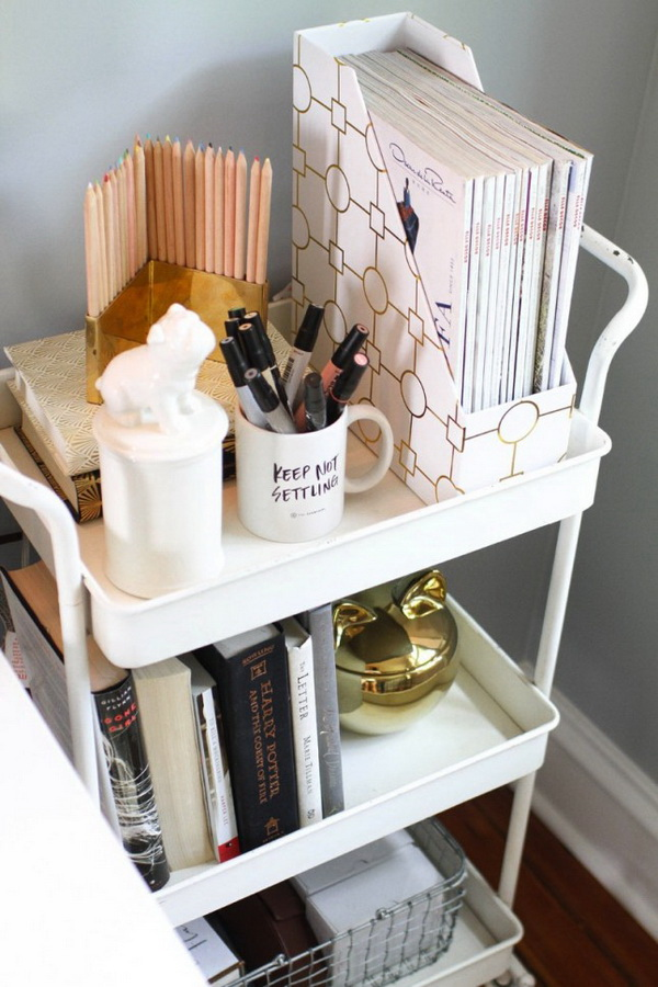 Bar Cart Night Stand: Turn the bar cart into this stylish nightstand in the bedroom. The three shelves offer some amazing bedside storage. Love this genius lifehack.