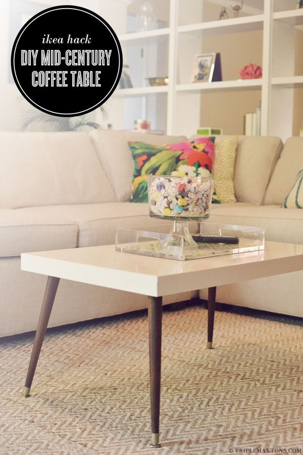 Mid-Century Modern Coffee Table: Remove the boring wood legs of the IKEA LACK coffee table and replace with a pair of signature tapered ones. You can get this unique and custom modern coffee table.
