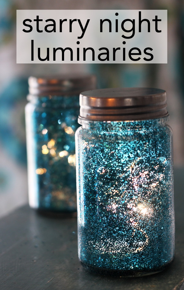 DIY Starry Night Luminaries: Super easy starry night luminaries made with glitter and hairspray. It would be a great wedding centerpieces.