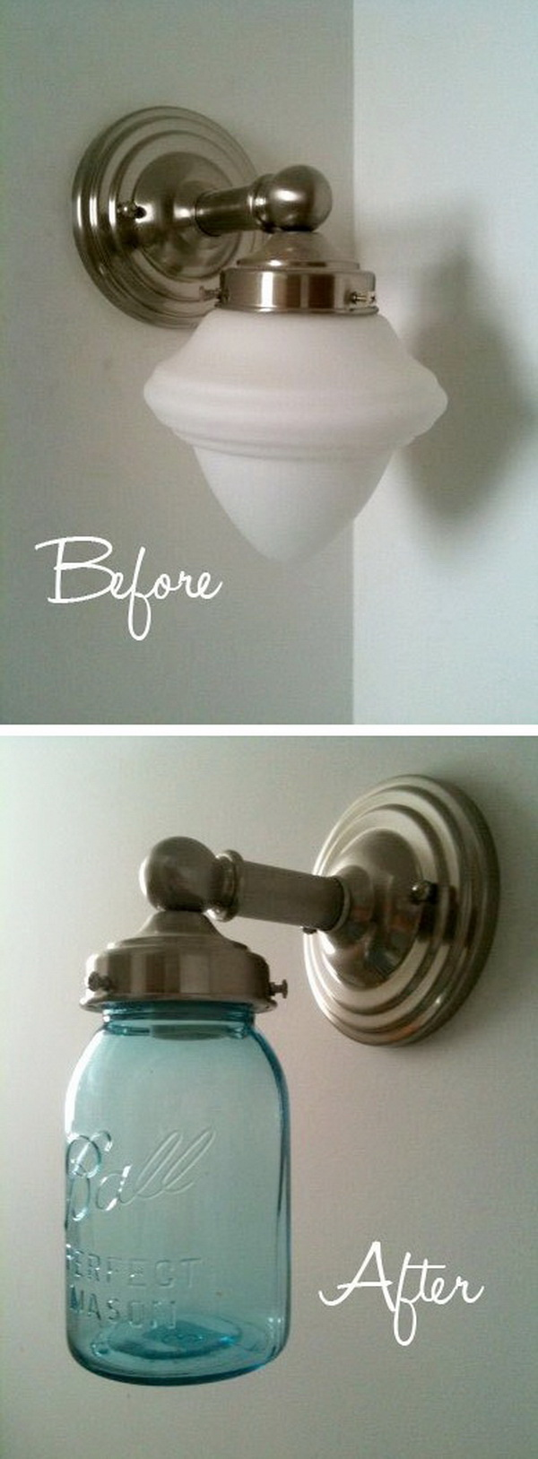 Mason Jar Light Makeover: Update an outdated light with a large mason jar. A quick and easy DIY project for your home!