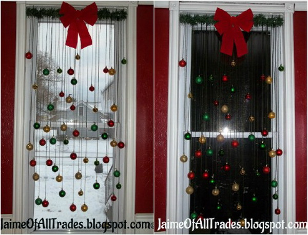 window decoration with christmas ball ornaments