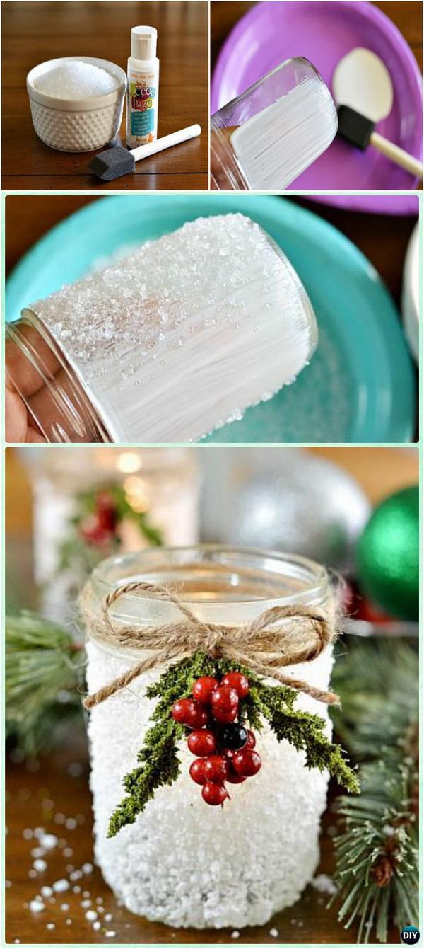 Homemade Holiday Decoration Ideas Part - 18: Handmade Snowy Mason Jars