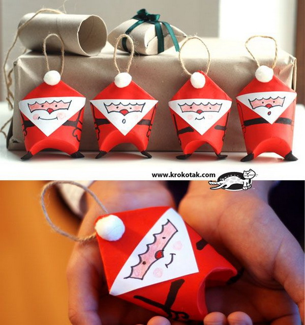 Toilet Paper Roll Santa Ornaments: