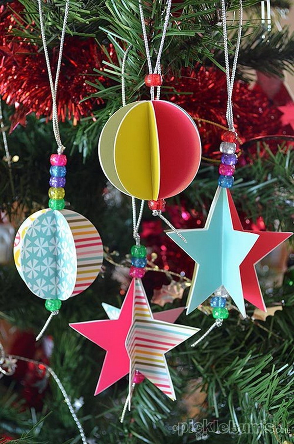 3D Star and Circle Paper Ornaments: