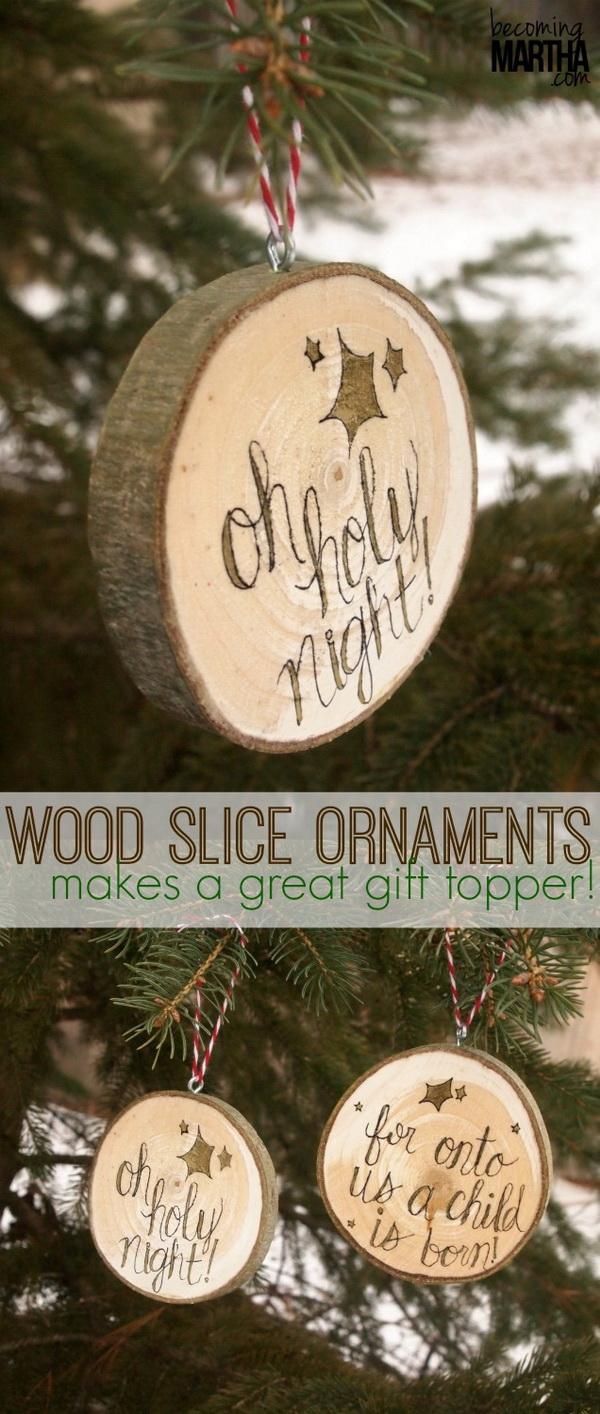 Wood Slice Christmas Ornaments: