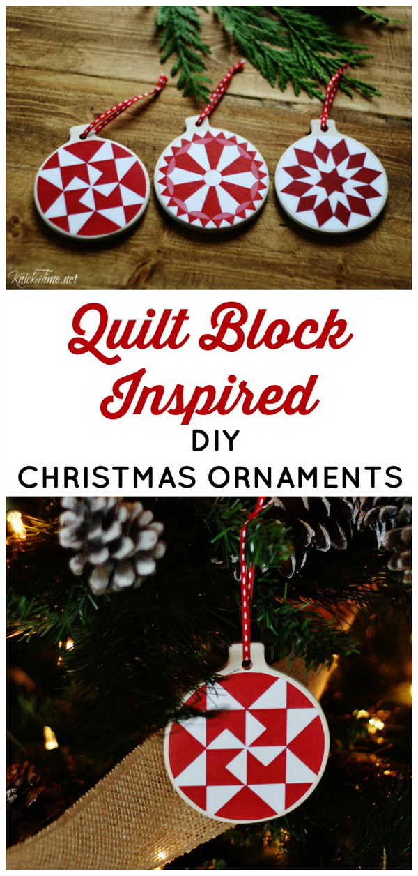 DIY Christmas Ornaments with Quilt Block Patterns: