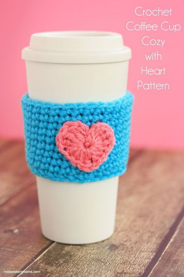 Crochet Coffee Cup Cozy Pattern With Heart.