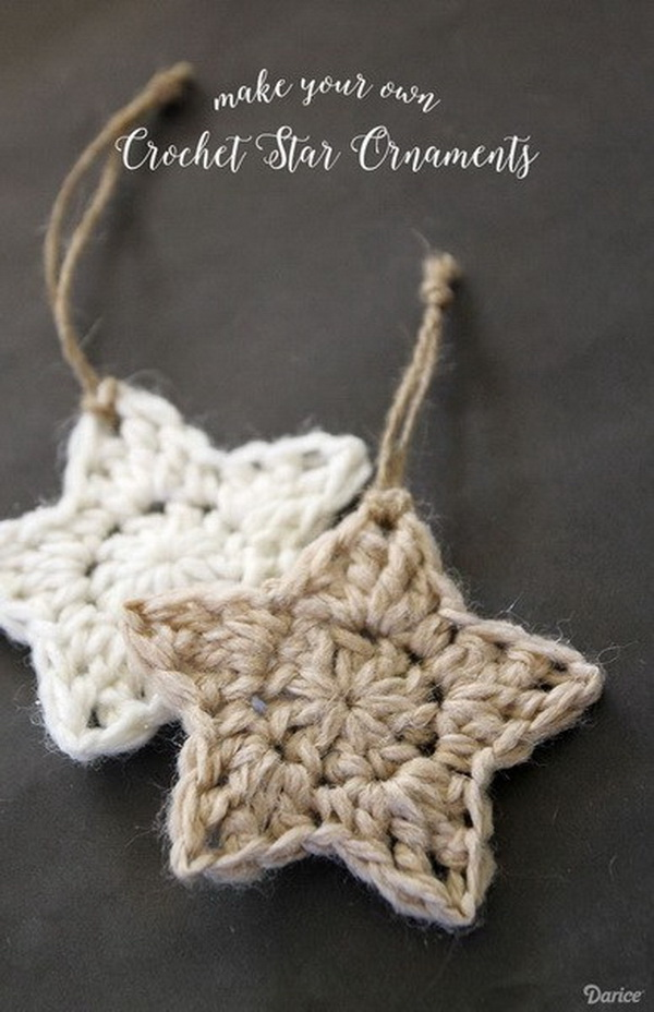 Simple Crochet Star Pattern Christmas Ornaments.